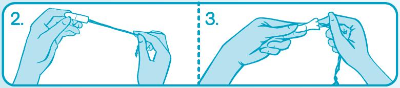 Введение тампона без аппликатора – шаг 2 и 3